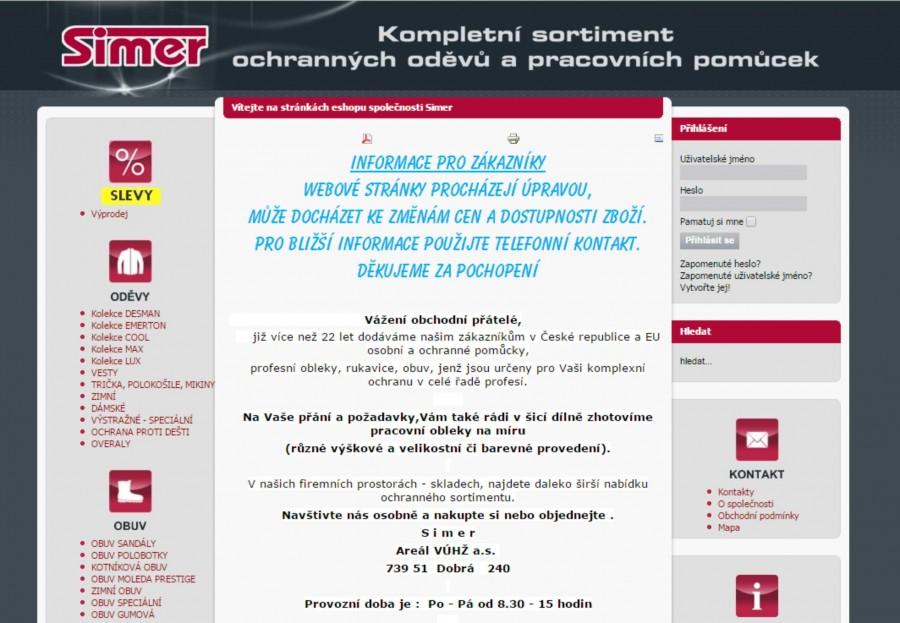 Webové stránky pro firmu SIMER